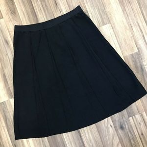 Ming Wang Knit Midi Circle Skirt Flare Panel Black
